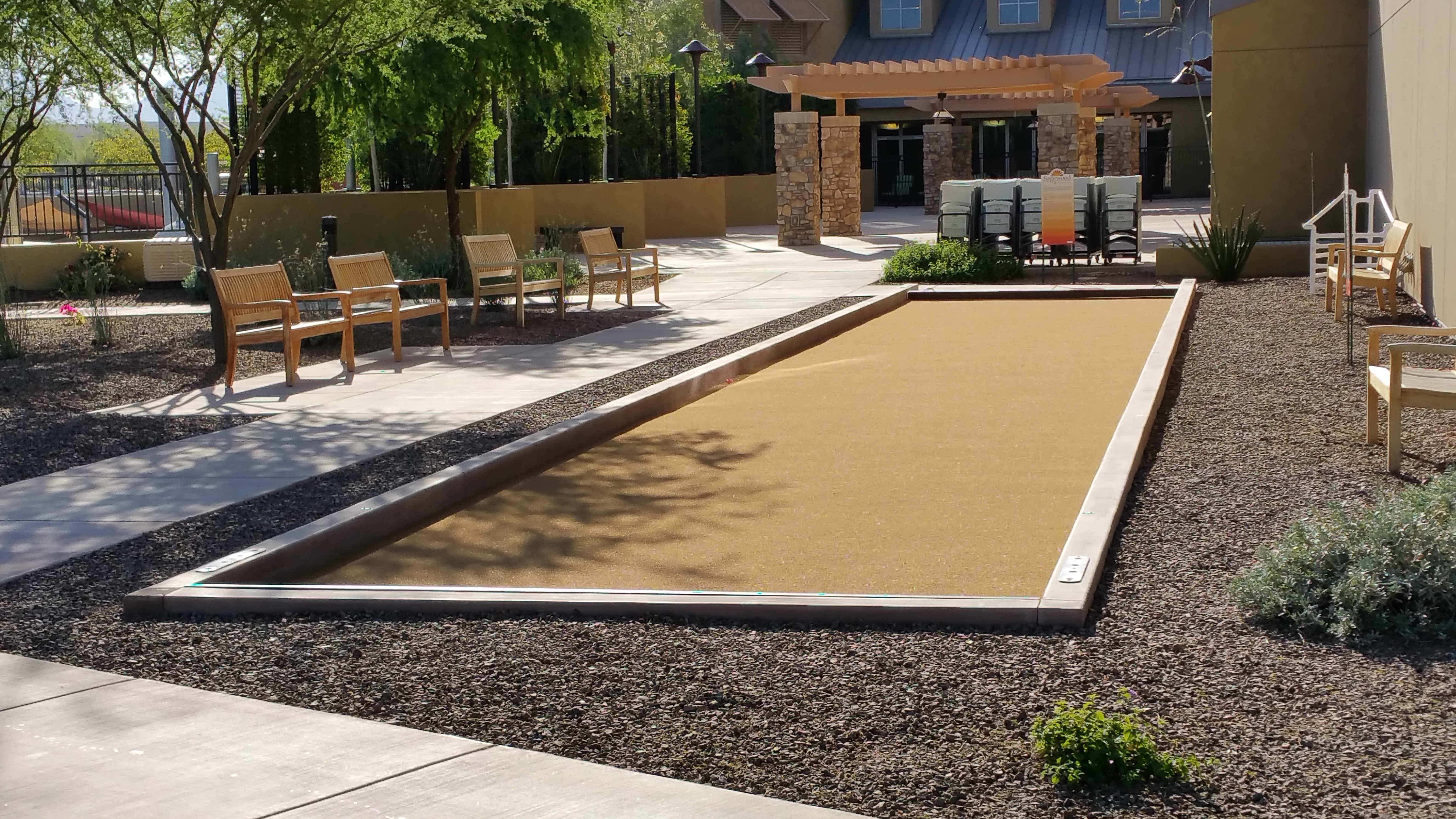Finished Bocce Court And Sidewalk